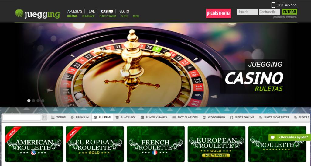 Juega en cualquiera de las ruletas de Juegging casino