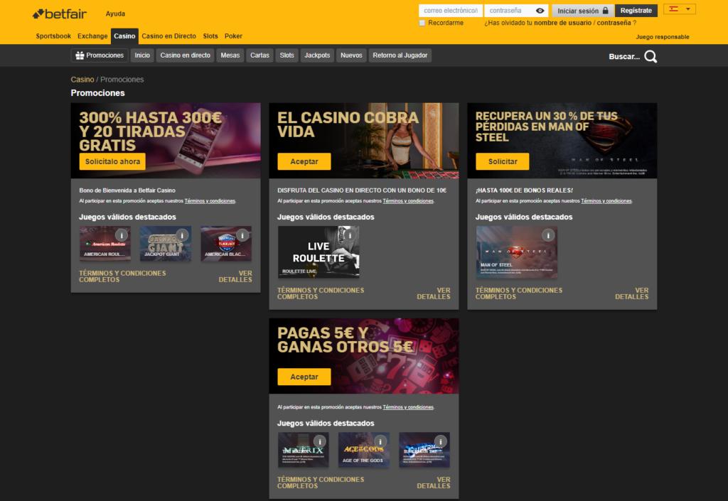 Regístrate en Betfair Casino España