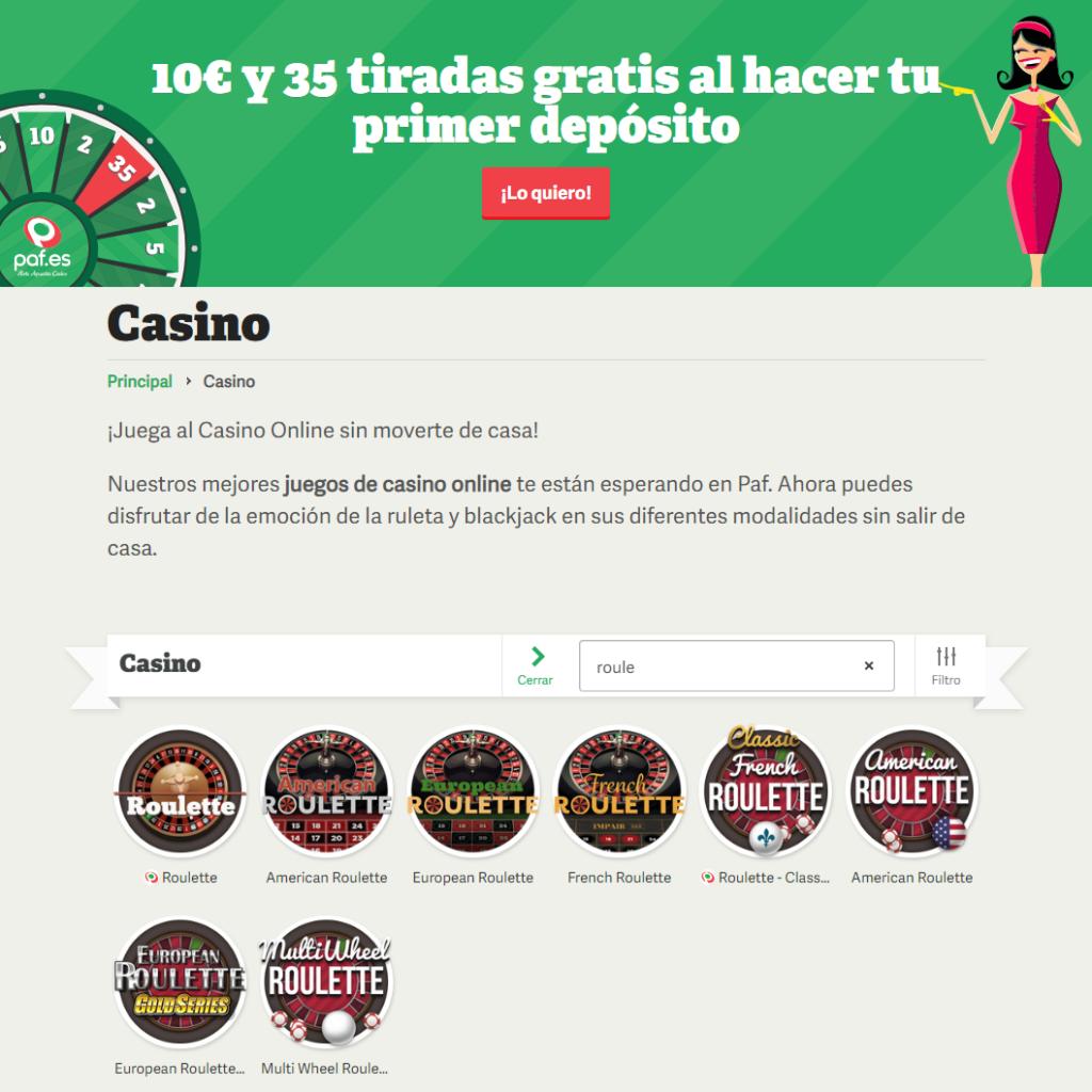 Juega a la ruleta online en Paf casino
