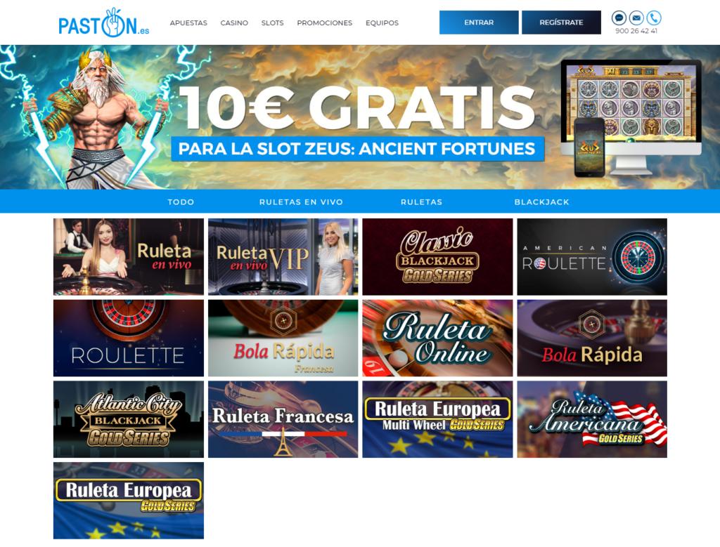 Juega en las ruletas online de Pastón casino