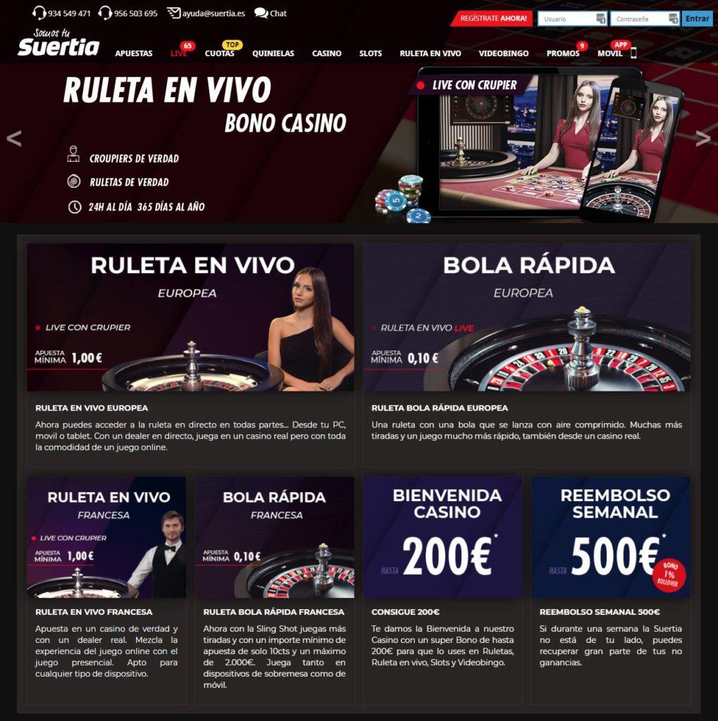 Suertia Casino Juegos de Ruleta en Vivo
