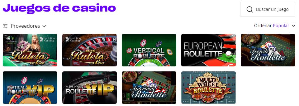 Juega en las ruletas en vivo o en línea de Versus Casino