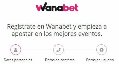 Regístrate en Wanabet